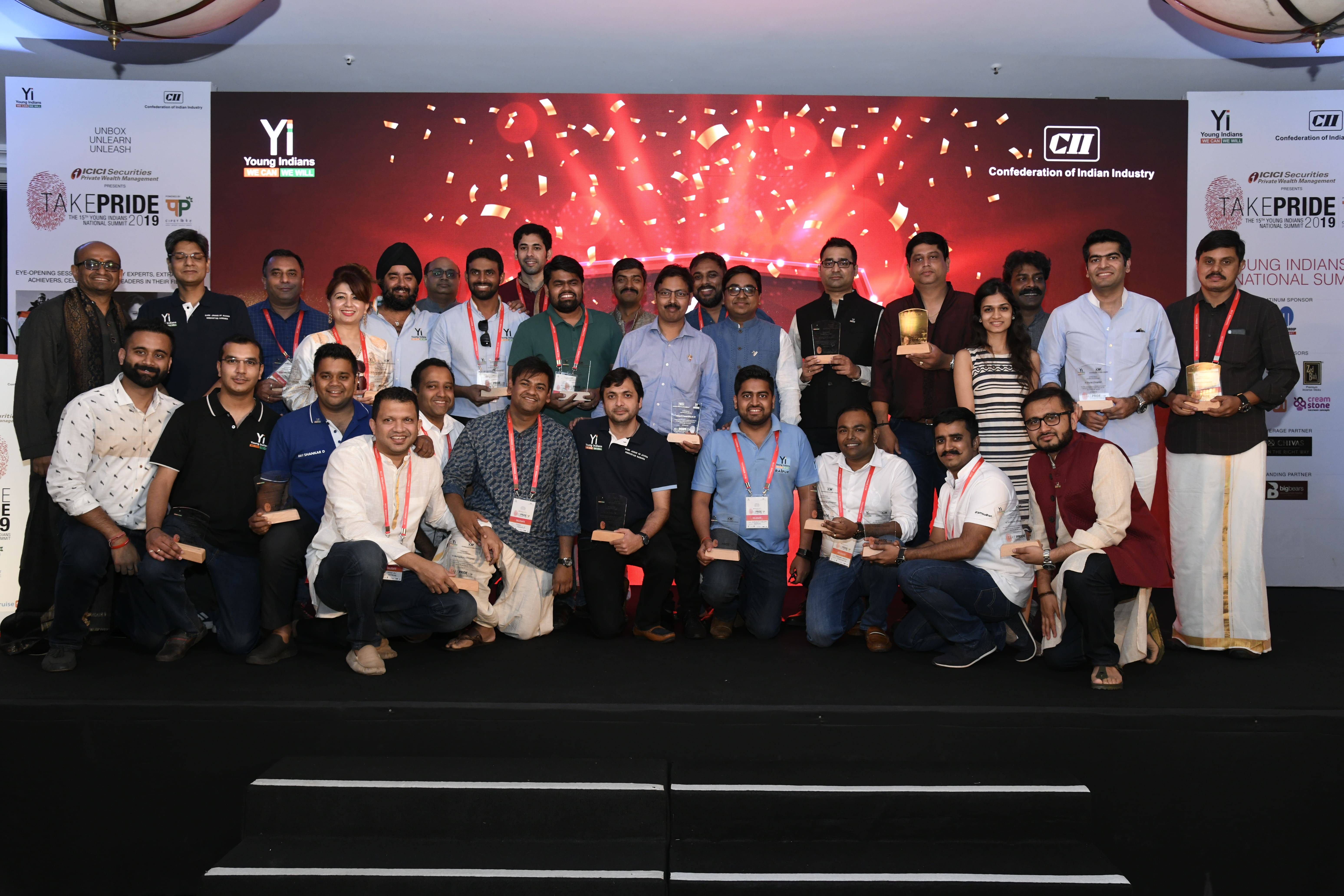 Group Picture: Yi Chapters recognized for their contribution  towards Kerela flood relief work at Take Pride 2019
