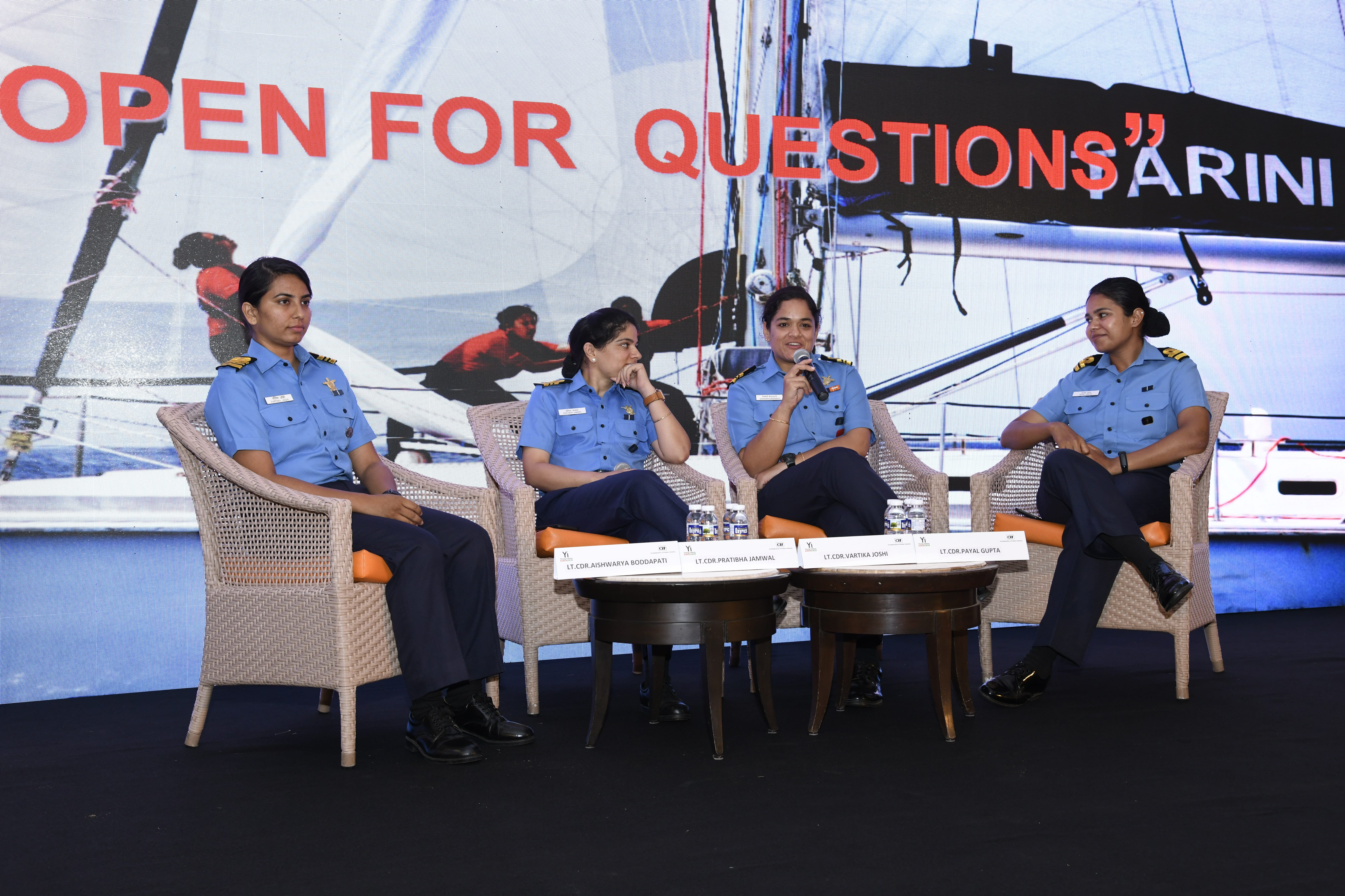 Team Tarini - An All women Navy officers' team that circumnavigated the Globe on INSV at Take Pride 2019